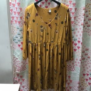Mustard yellow floral long sleeve dress